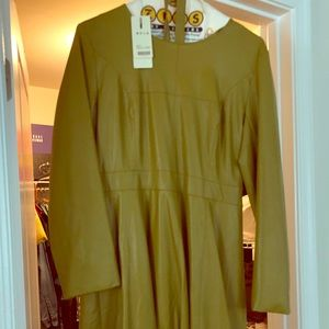 Dresses & Skirts - Olive green knee length leather like dress